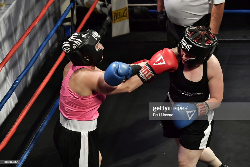 Boxers Nicole Bezreh and Katie Barry at the Haymakers for Hope Fundraiser - 2017 Belles of the Brawl at House of Blues Boston on October 5, 2017 in Boston, Massachusetts. Organizers estimate app. $450,000 was raised with this single event in Boston nd more than $7.5m since its inception. Amature boxers train for four months with professional trainers and step into the ring to fight a professionally organized boxing match to raise money and awareness for cancer research.