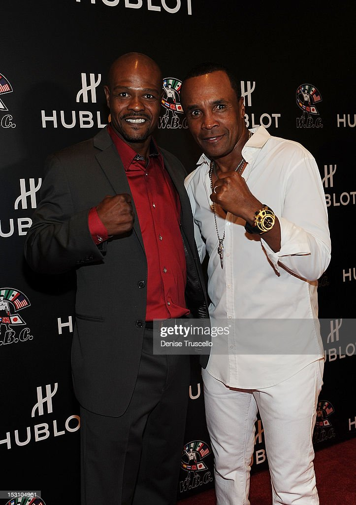 Boxers Terry Norris and Sugar Ray Leonard arrive 'A Legendary Evening With Hublot And WBC' at Bellagio Las Vegas on September 29, 2012 in Las Vegas, Nevada.