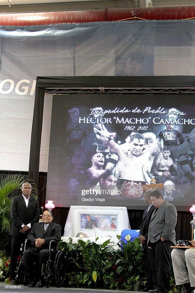 Boxers Tito Trinidad, Wilfredo Benitez, Alfredo 'El Salsero' Escalera and Wilfredo Gomez attend Hector 'Macho' Camacho's public Memorial Service at Department of Sports and Recreation on November 27, 2012 in San Juan, Puerto Rico.