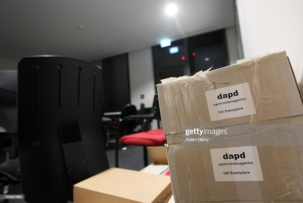 Boxes and unused furniture sit in the offices of the German news agency dapd on March 4, 2013 in Berlin, Germany. The country's second-largest news agency, dapd, was forced to declare insolvency for the second time in five months on March 1.