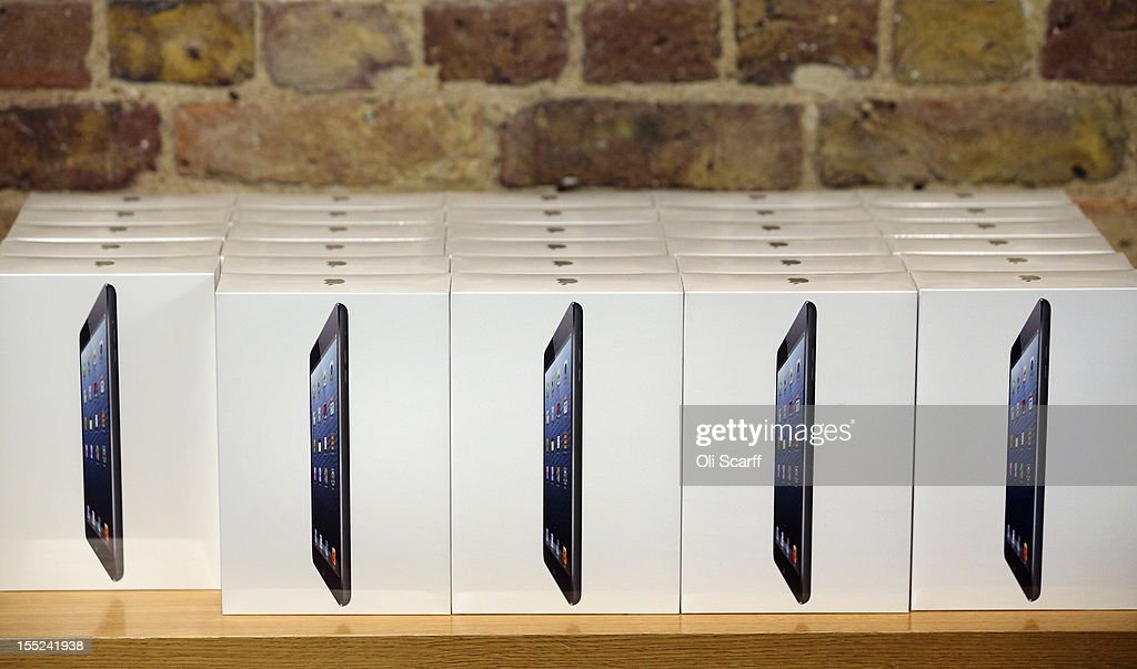 Boxes containing the new 'iPad mini' on the morning of the tablet's launch in the Apple Store in Covent Garden on November 2, 2012 in London, England. Customers have queued outside Apple Store branches around the world to be some of the first people to purchase the new smaller iPad tablet computer; the screen on which measures 7.9 inches diagonally compared to 9.7 inches for a regular iPad.