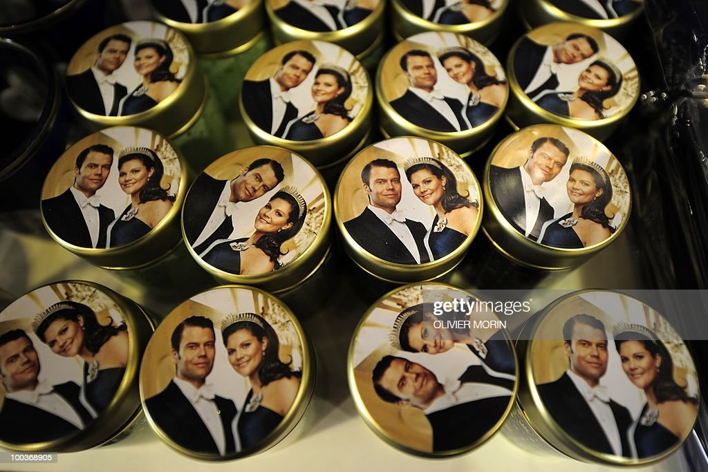 Boxes featuring Swedish crown Princess Victoria and her fiance Daniel Westling are for sale in a souvenir shop near the Royal Castle in Stockholm on May 24, 2010, where the royal wedding will be held. Many tourists paid a visit to the Swedish capital less than a month before Crown Princess Victoria 's wedding, the 32-year-old eldest daughter of King Carl XVI Gustaf.