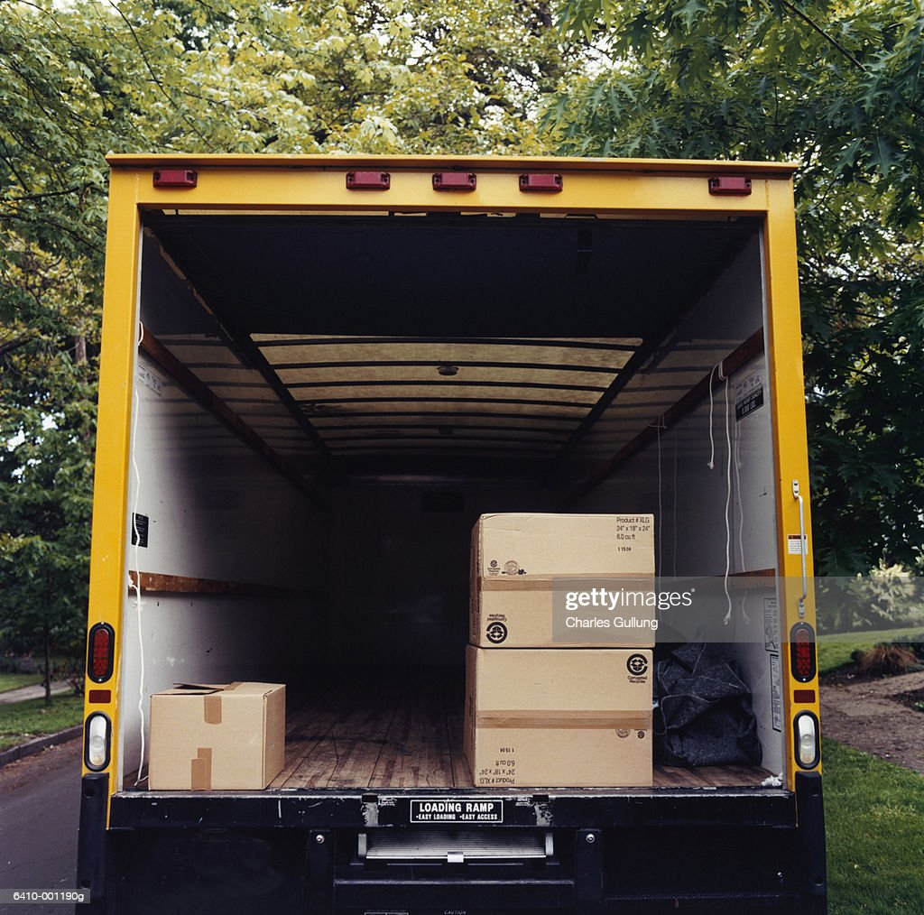 Boxes in Back of Moving Van