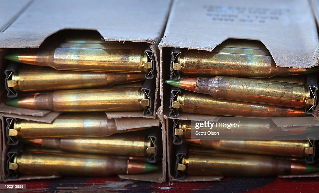 Boxes of 223 rifle rounds sit on a table during a combat marksmanship course at Marine Combat Training on February 20 2013 at Camp Lejeune North...