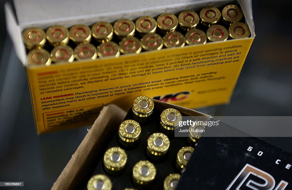 Boxes of 9mm and .223 rifle ammuntion sit on the counter at Sportsmans Arms on April 2, 2013 in Petaluma, California. In the wake of the Newtown, Connecticut school massacare, California State lawmakers are introducing several bills that propose taxing and regulating sales of ammunition. Another bill is aimed to require a background check and annual permit fee to purchase any ammunition.