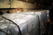 Boxes of aid are seen on a plane carrying roughly 40 metric tonnes of international aid from the World Food Programme and the United National High...