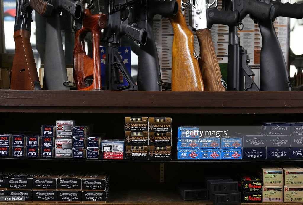 Boxes of ammunition sit on the shelf at Sportsmans Arms on April 2, 2013 in Petaluma, California. In the wake of the Newtown, Connecticut school massacare, California State lawmakers are introducing several bills that propose taxing and regulating sales of ammunition. Another bill is aimed to require a background check and annual permit fee to purchase any ammunition.