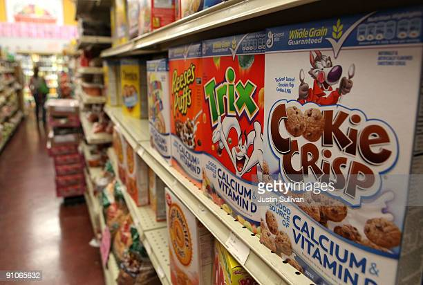 Boxes of cereal made by General Mills sit on the shelf at a grocery store September 23 2009 in Berkeley California General Mills Inc reported a 51...