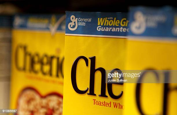 Boxes of Cheerios ceral made by General Mills sit on the shelf at a grocery store September 23 2009 in Berkeley California General Mills Inc reported...