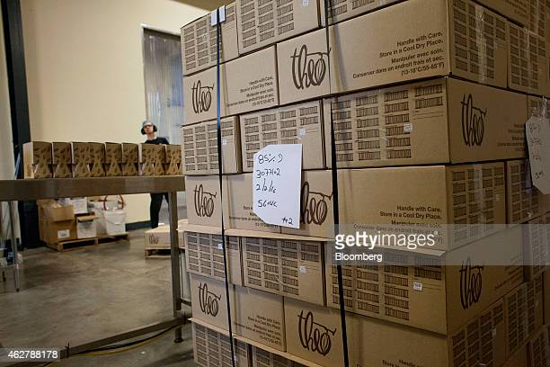 Boxes of chocolate bars sit stacked before being shipped at the Theo Chocolate factory in Seattle Washington US on Monday Feb 2 2015 The US Census...