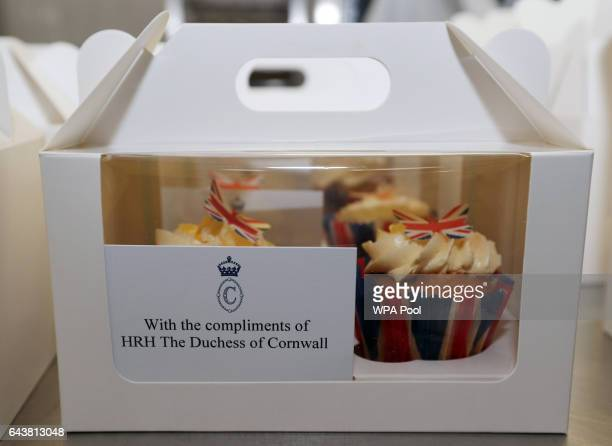 Boxes of cupcakes prepared for guests rest on a kitchen table during a reception to launch The Great Get Together at Clarence House on February 22...
