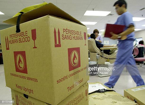 Boxes of donated blood await pickup 12 September 2001in TorontoCanada as Canadians flock to assist in any way they can the injured in New York City...