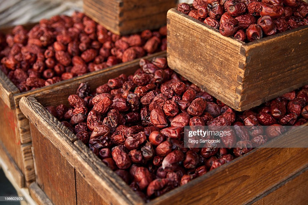 Boxes Of Dried Korean Jujube : Stock Photo