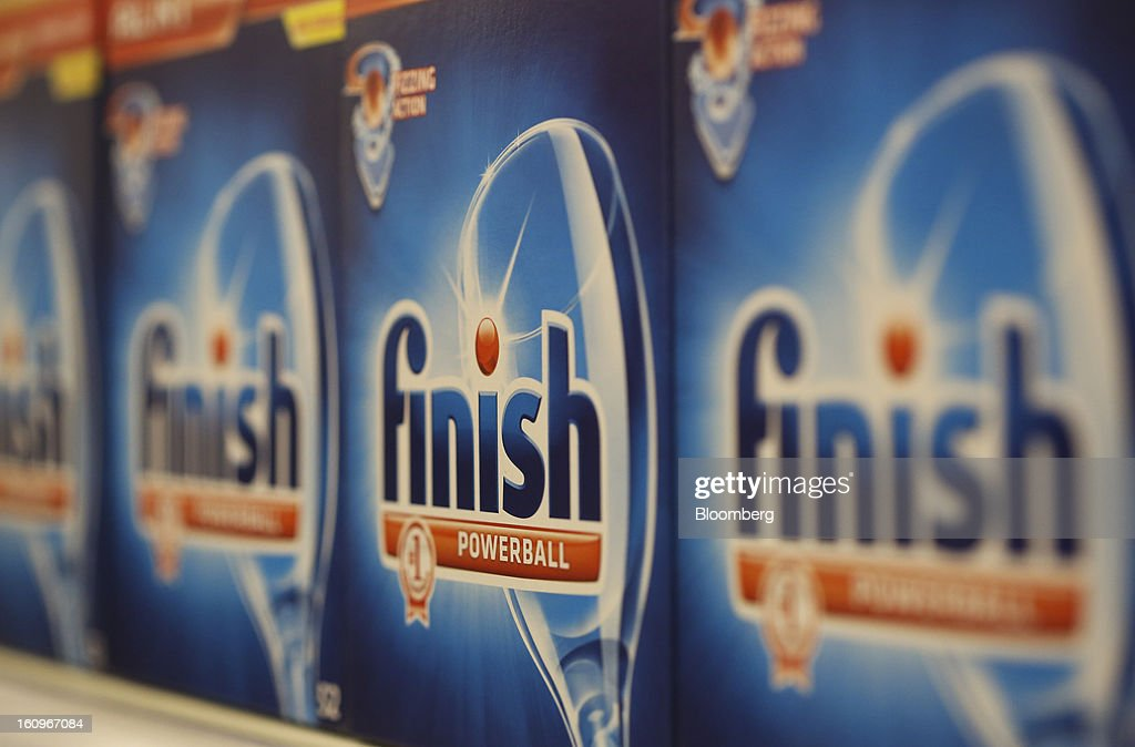 Boxes of Finish dishwasher tablets, produced by Reckitt Benckiser Group Plc, sit on display inside a supermarket in London, U.K., on Friday, Feb. 8, 2013. Britain's economy will grow more slowly this year than previously forecast and stagnation may persist, according to the National Institute of Economic and Social Research. Photographer: Chris Ratcliffe/Bloomberg via Getty Images