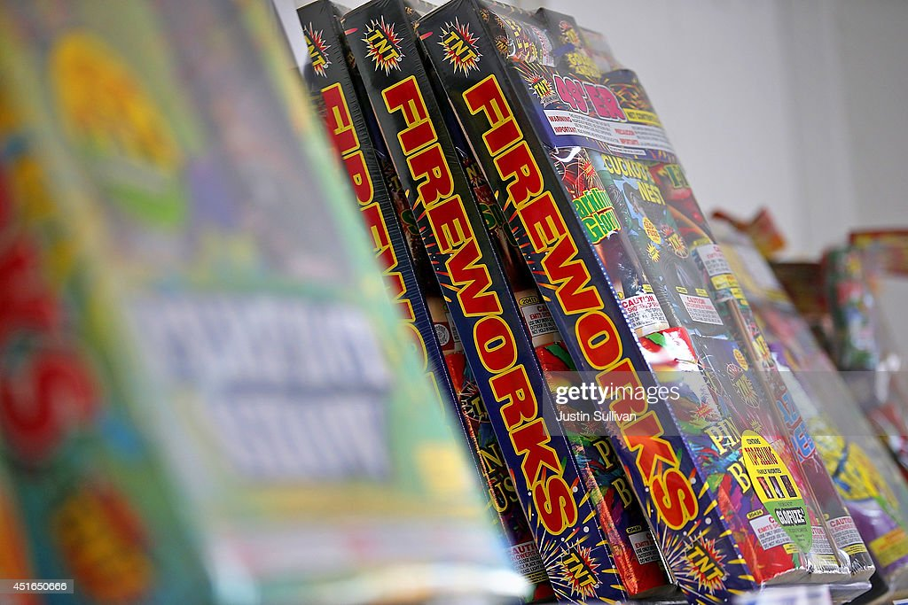 Boxes of fireworks are displayed at the Camp St. Andrews fireworks stand on July 3, 2014 in San Bruno, California. As California's historic drought continues and fire danger is at severe levels, fire departments in the greater San Francisco Bay Area are on heightened alert as vendors in select cities in Santa Clara, San Mateo and Alameda counties sell fireworks ahead of the Fourth of July holiday.