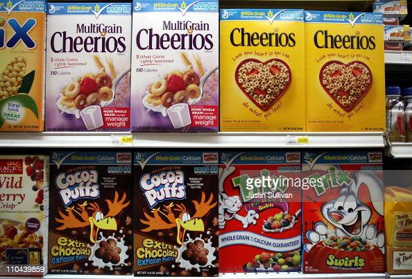 Boxes of General Mills cereals sit on the shelf at Santa Venetia Market on March 18 2011 in San Rafael California General Mills announced today that...