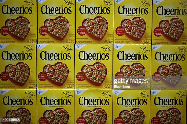 Boxes of General Mills Inc brand Cheerios cereal are displayed for sale inside a Costco Wholesale Corp store in Nashville Tennessee US on Friday Sept...