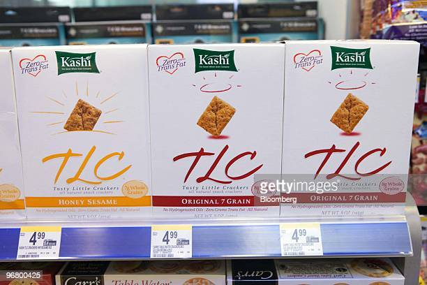 Boxes of Kellogg Co's Kashi Tasty Little Crackers sit on display at a Walgreen's store in New York US on Wednesday Feb 17 2010 Kellogg Co's Kashi the...