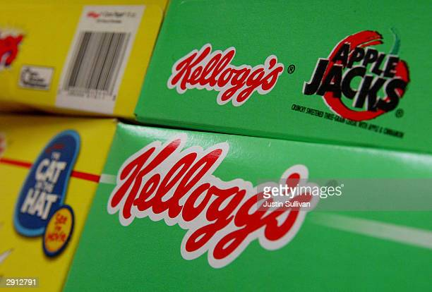 Boxes of Kellogs brand cereal are seen on the shelf at a grocery store January 19 2004 in San Francisco The Battle Creek Michigan based Kellogg...