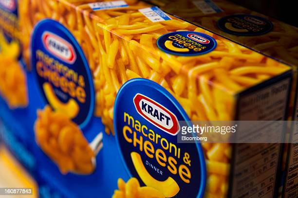 Boxes of Kraft Foods Group Inc macaroni cheese are displayed for a photograph in Fog Hill Market in San Francisco California US on Tuesday Feb 5 2013...
