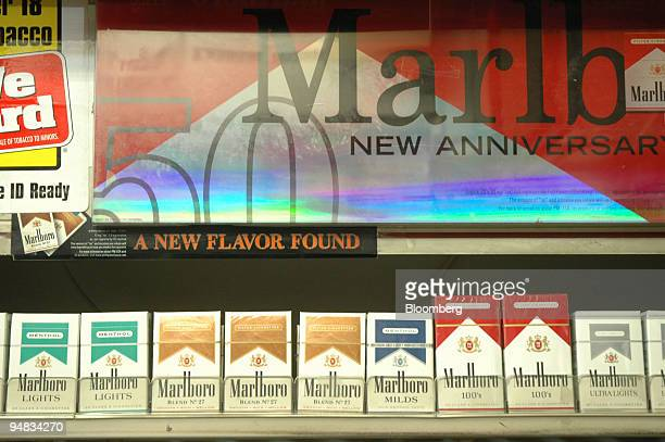 Boxes of Marlboro cigarettes sit on a delicatessen counter Friday February 11 in New York Altria the New Yorkbased maker of Marlboro cigarettes would...