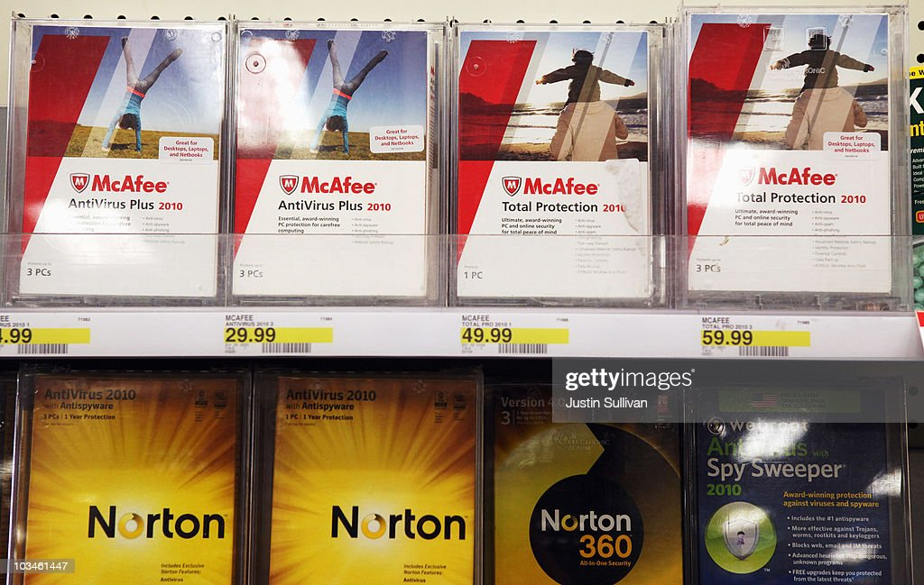 Boxes of McAfee security software are displayed alongside Norton Anti-virus software by Symantec on a shelf at a Target store August 19, 2010 in Colma, California. Intel announed today that it plans to buy security software maker McAfee for a reported $7.68 billion.