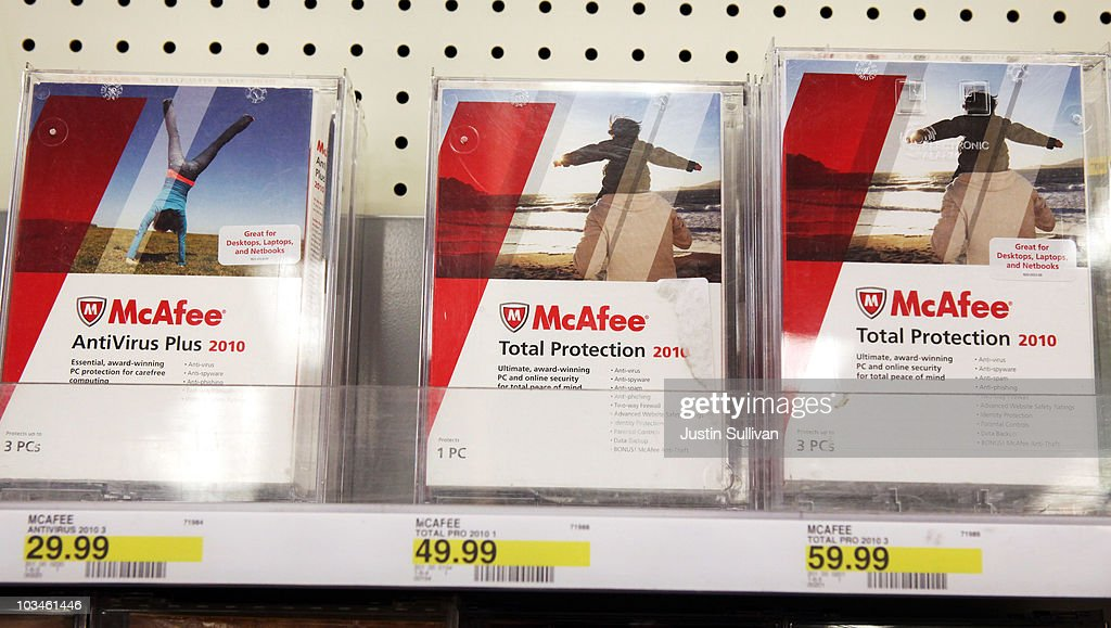 Boxes of McAfee security software are displayed on a shelf at a Target store August 19, 2010 in Colma, California. Intel announed today that it plans to buy security software maker McAfee for a reported $7.68 billion.
