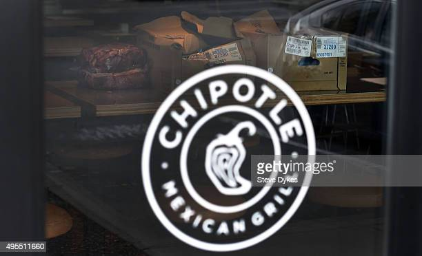 Boxes of meat sit on a table inside a Chipotle Mexican Grill store location in on November 3 2015 in Vancouver Washington Chipotle Mexican Grill is...