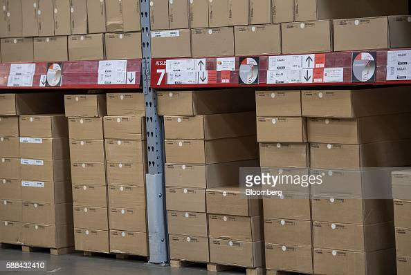 Boxes of merchandise sits stacked on shelves inside an IKEA AB store in Emeryville California US on Tuesday Aug 9 2016 The US Census Bureau is...