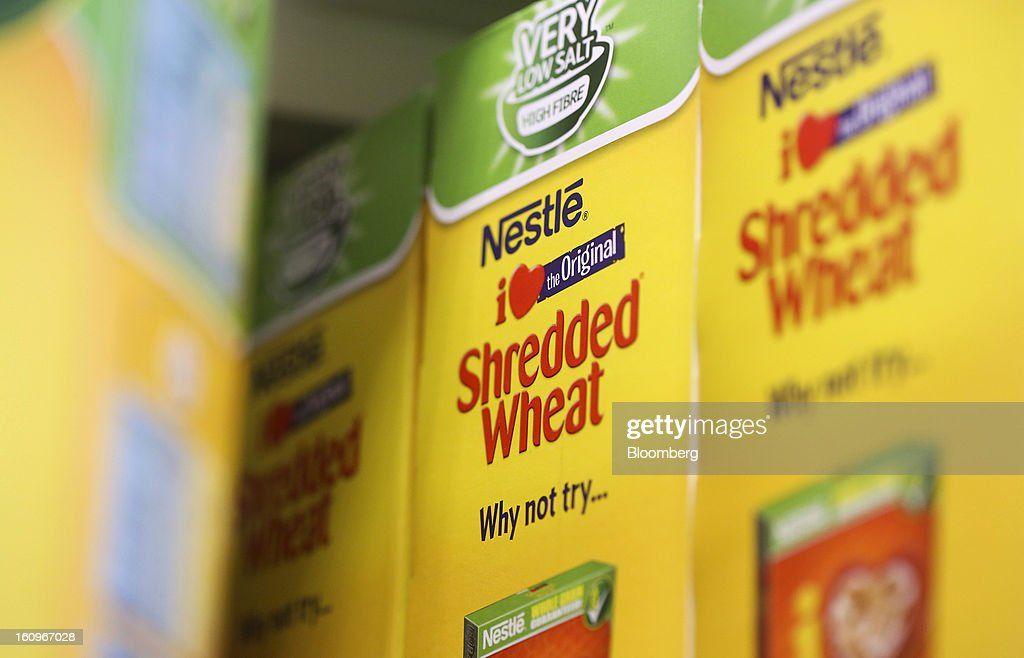 Boxes of Shredded Wheat breakfast cereal, produced by Nestle SA, sit on a shelf inside a supermarket in London, U.K., on Friday, Feb. 8, 2013. Britain's economy will grow more slowly this year than previously forecast and stagnation may persist, according to the National Institute of Economic and Social Research. Photographer: Chris Ratcliffe/Bloomberg via Getty Images