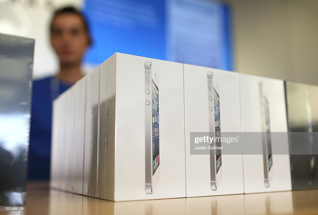 Boxes of the new iPhone 5 are displayed at an Apple Store on September 21, 2012 in San Francisco, California. Customers flocked to Apple Stores across the U.S. to purchase the hotly anticipated iPhone 5 which went on sale nationwide today.