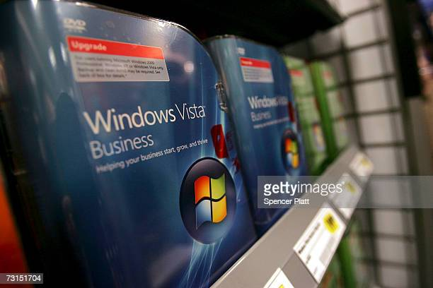 Boxes of the new People Windows Vista software sit on a shelf at a Best Buy store January 30 2007 in New York City Microsoft launched the Windows...