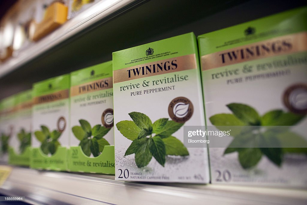 Boxes of Twinings peppermint tea, produced by Associated British Foods Plc, sit on a shelf inside a supermarket in London, U.K., on Monday, Nov. 5, 2012. AB Foods shares have gained 17 percent this year, fueled by the growth of the sugar unit and Primark, the company's two main profit contributors. Photographer: Simon Dawson/Bloomberg via Getty Images