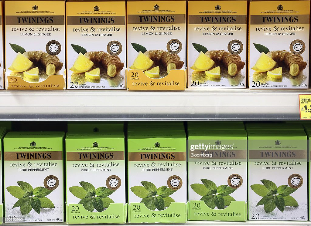 Boxes of Twinings tea, produced by Associated British Foods Plc, sit displayed for sale at a supermarket in London, U.K., on Monday, Nov. 5, 2012. AB Foods shares have gained 17 percent this year, fueled by the growth of the sugar unit and Primark, the company's two main profit contributors. Photographer: Simon Dawson/Bloomberg via Getty Images