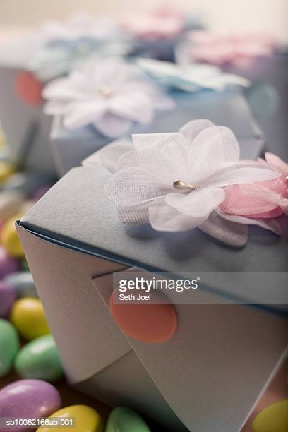 Boxes of wedding favours, close-up