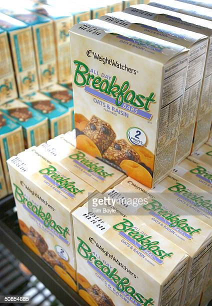 Boxes of Weight Watchers Breakfast Bars are displayed in a Weight Watchers meeting location May 18 2004 in Arlington Heights Illinois Applebee's...