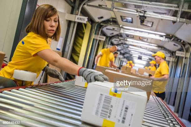 Boxes on conveyer belt