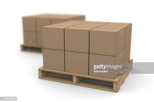 Kartons auf Paletten Versand
