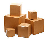 Brown Cardboard Boxes in a Pile Isolated on a White Background.