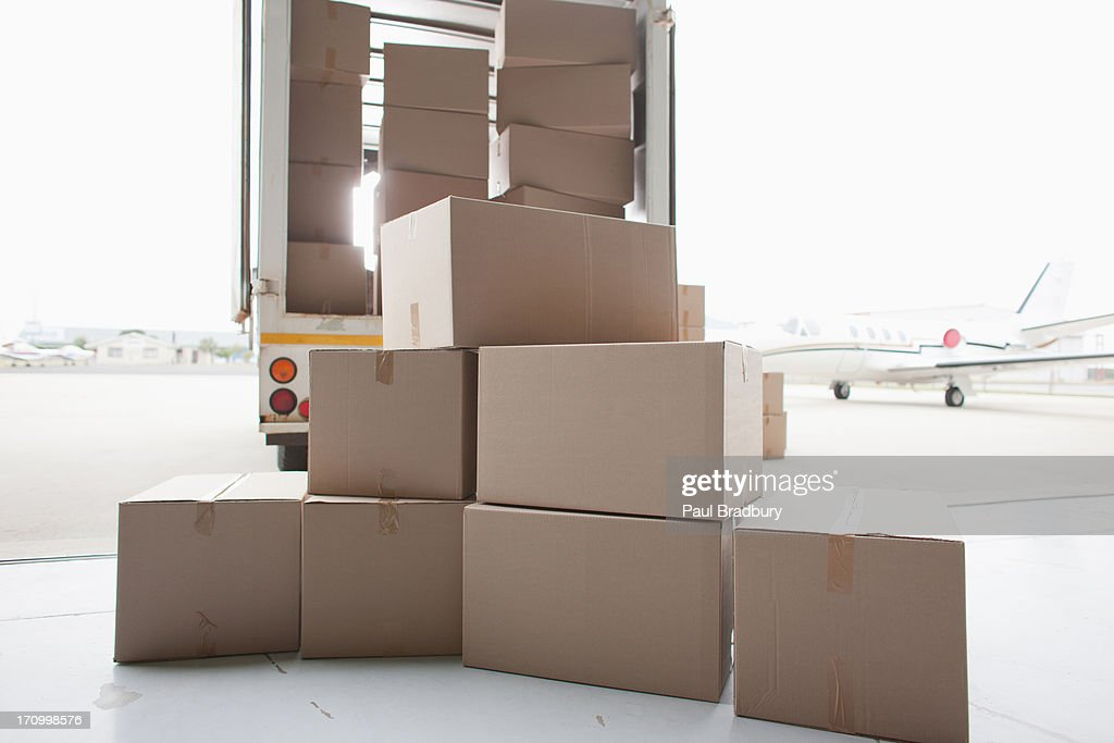 Boxes waiting to be loaded onto truck