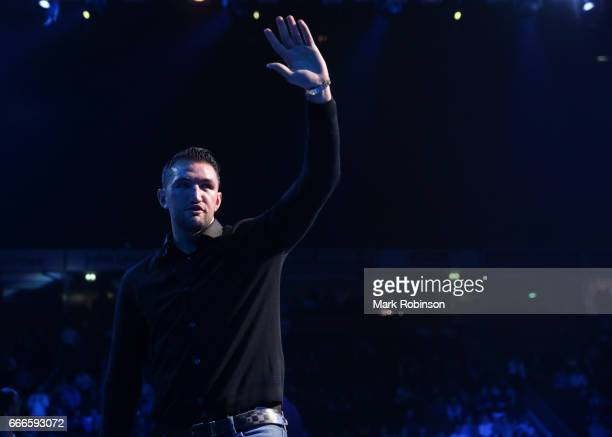 Boxier Hughie Fury introduced in the ring at Manchester Arena on April 8 2017 in Manchester England