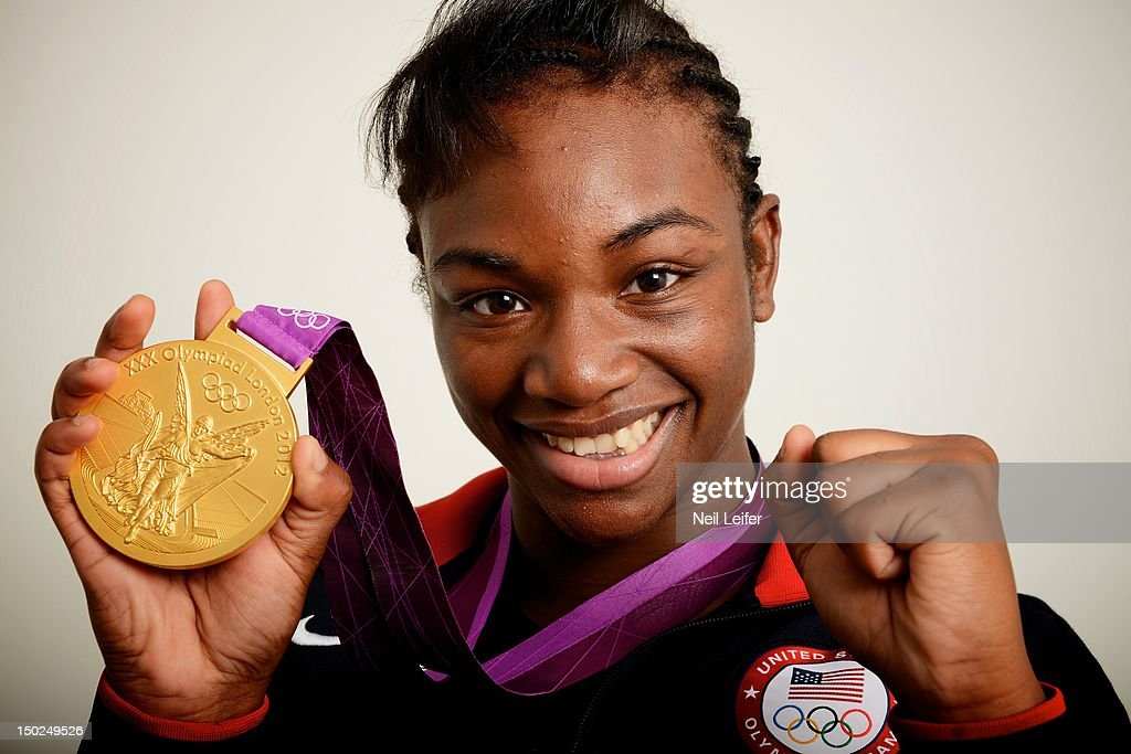 2012 Summer Olympics Closeup portrait of USA Claressa Shields posing during photo shoot at NBC Today Show television set in Olympic Park Shield won...