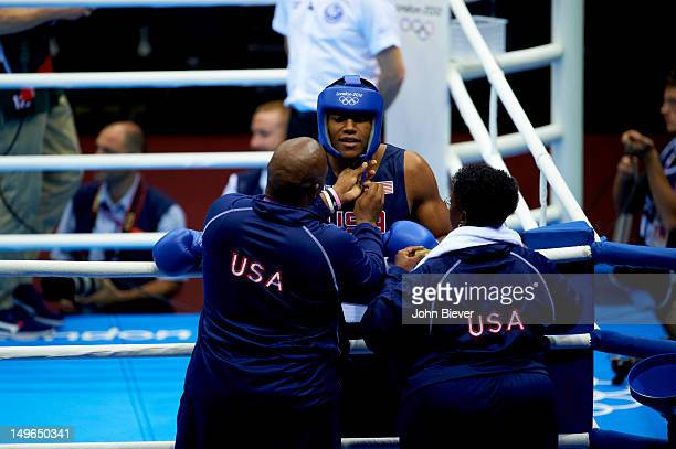 2012 Summer Olympics USA Michael Hunter II before Men's Heavy Round of 16 bout vs Russia Artur Beterbiev at ExCeL London London United Kingdom...