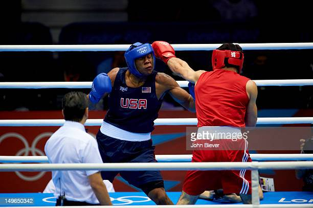 2012 Summer Olympics USA Michael Hunter II in action vs Russia Artur Beterbiev during Men's Heavy Round of 16 bout at ExCeL London London United...