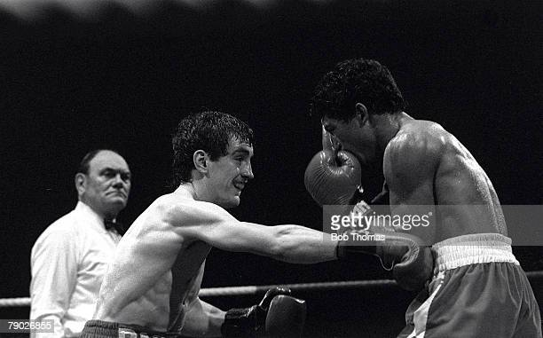 Boxing 23rd February Northern Ireland Featherweight champion Barry McGuigan in action during his fight with Juan Leporte