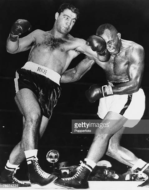 Boxing 23rd September 1952 Philadelphia USA Action from the bout between Jersey Joe Walcott and Rocky Marciano Rocky won by knockout in the 13th round