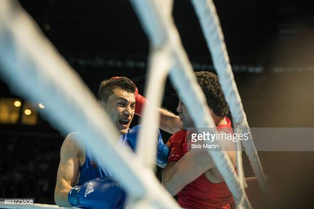 4th Islamic Solidarity Games Azerbaijan Tamerlan Abdullayev in action vs Uzbekistan BoboUsmon Baturov during Men's Welterweight 69KG Finals at Baku...