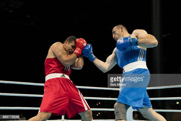 4th Islamic Solidarity Games Syria Manaf Asaad in action vs Azerbaijan Mahammadrasul Majidov during Men's Super Heavyweight 91KG Finals at Baku...