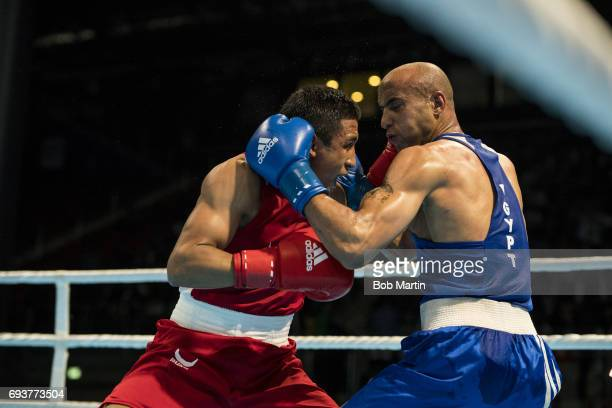 4th Islamic Solidarity Games Uzbekistan Aliyor Noraliev in action vs Egypt Eslam Mohamed during Men's Light Welterweight 64 KG Finals at Baku Crystal...