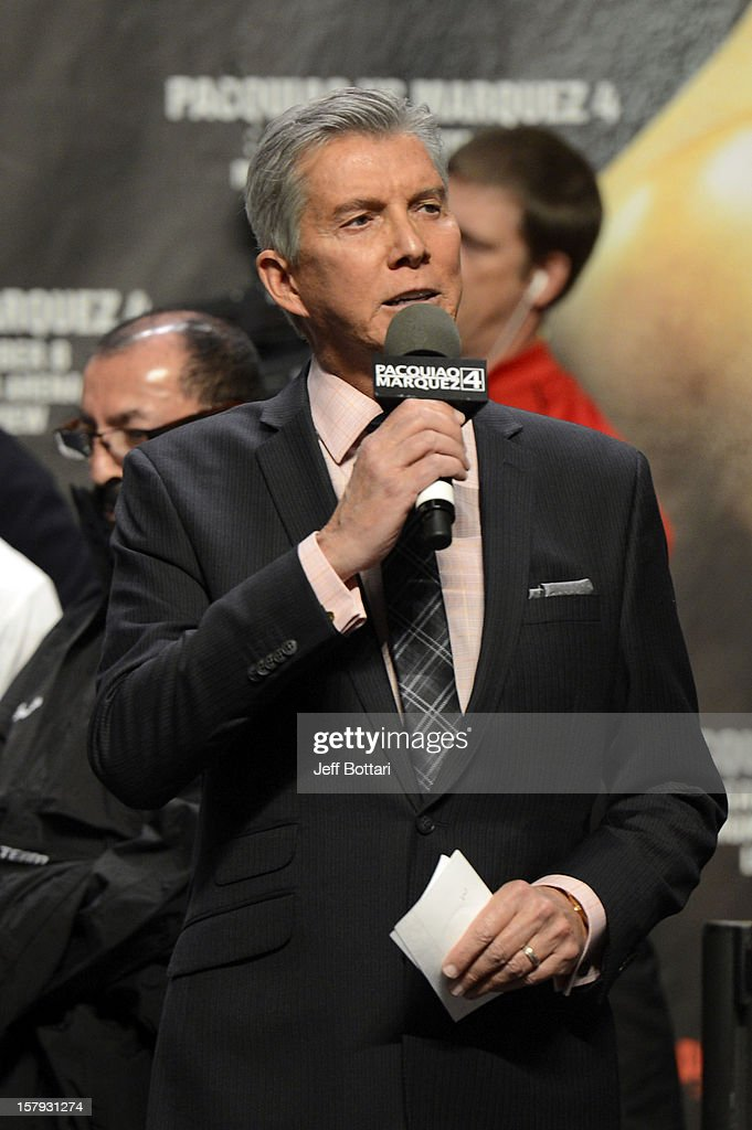Boxing announcer Michael Buffer introduces boxers Manny Pacquiao and Juan Manuel Marquez during the official weigh-in for their welterweight bout at the MGM Grand Garden Arena on December 7, 2012 in Las Vegas, Nevada. Pacquiao and Marquez will fight each other for the fourth time on Dec. 8 in Las Vegas.